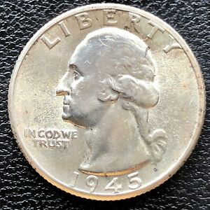 1945 25C Washington Silver Quarter BU