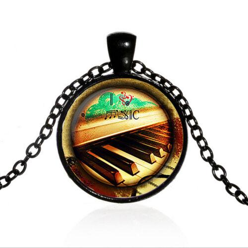 Vintage Piano I Heart Music cabochon en verre Noir Chaîne Collier Pendentif