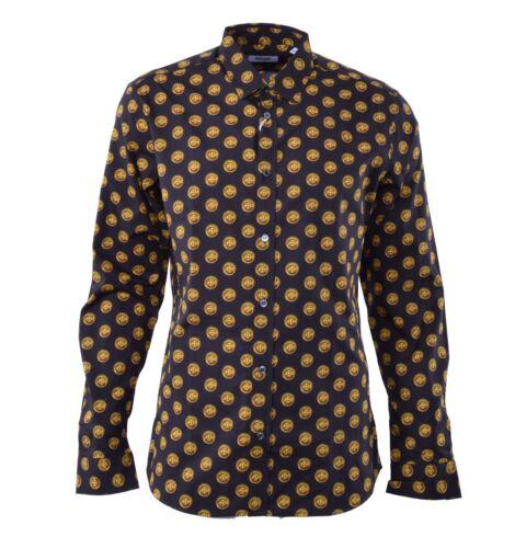 """MOSCHINO RUNWAY Hemd mit Aufdruck /""""Knöpfe/"""" Schwarz Gold Printed Shirt Black 0438"""