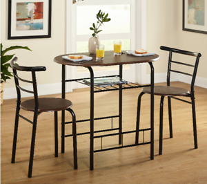 Details about Breakfast Table With Stools Tall Kitchen Set for High Pub  Nook Bar Small Space