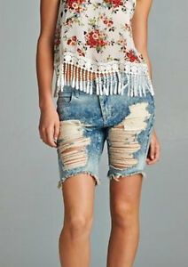 Women's distressed denim bermuda shorts – Global fashion jeans ...