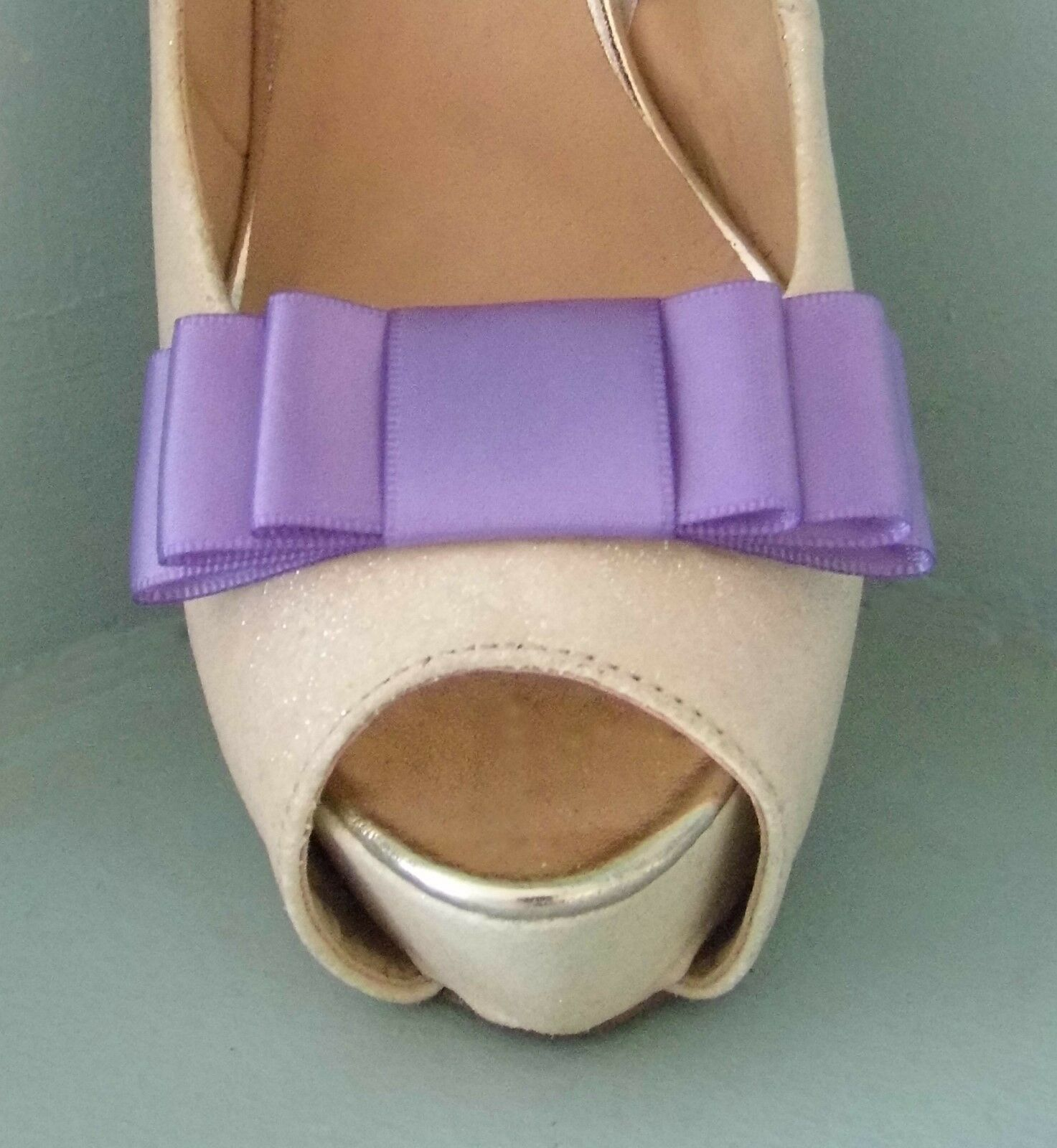 2 Handmade Lilac Triple Bow Clips for Shoes - other colours on request