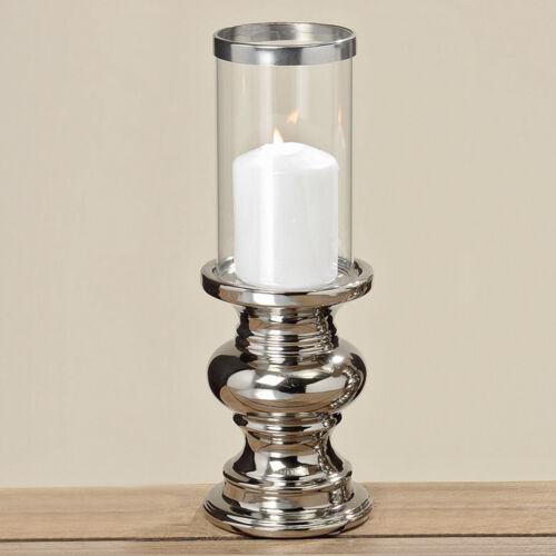 silber Höhe 28cm Kerzenleuchter Kerzenständer Deko Windlicht Maseru 2 tlg