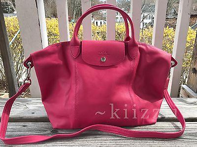 NEW w/dustbag Longchamp Le Pliage Cuir Leather Tote Pink Medium Handbag  Foldable | eBay