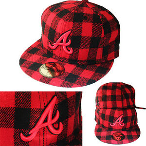 New Era Atlanta Braves 5950 Classic Fitted Hat Red Black Plaid ... d02442e76c6