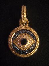 Judith Ripka Large 18K Yellow Gold & Diamonds Evil Eye Clip-On Enhancer Pendant