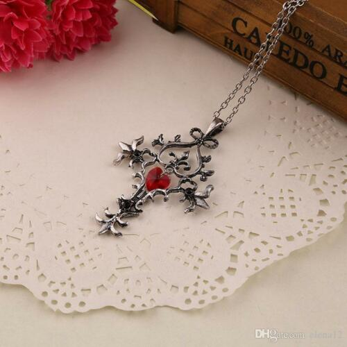 "/""The Vampire Diaries/"" ojival Vintage Antiguo Plata Cruz Colgante y collar conjunto"