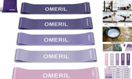 Skin-Friendly Exercise Loop Bands with 5 Res Set of 5 OMERIL Resistance Bands