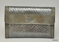 Francesco Biasia Fiona Snake Leather Flap Wallet French Purse Bag Gunmetal