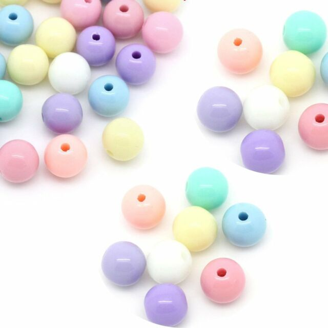 280 Random Pastel Acrylic Spacer Beads Round 8mm Hole 1.6mm