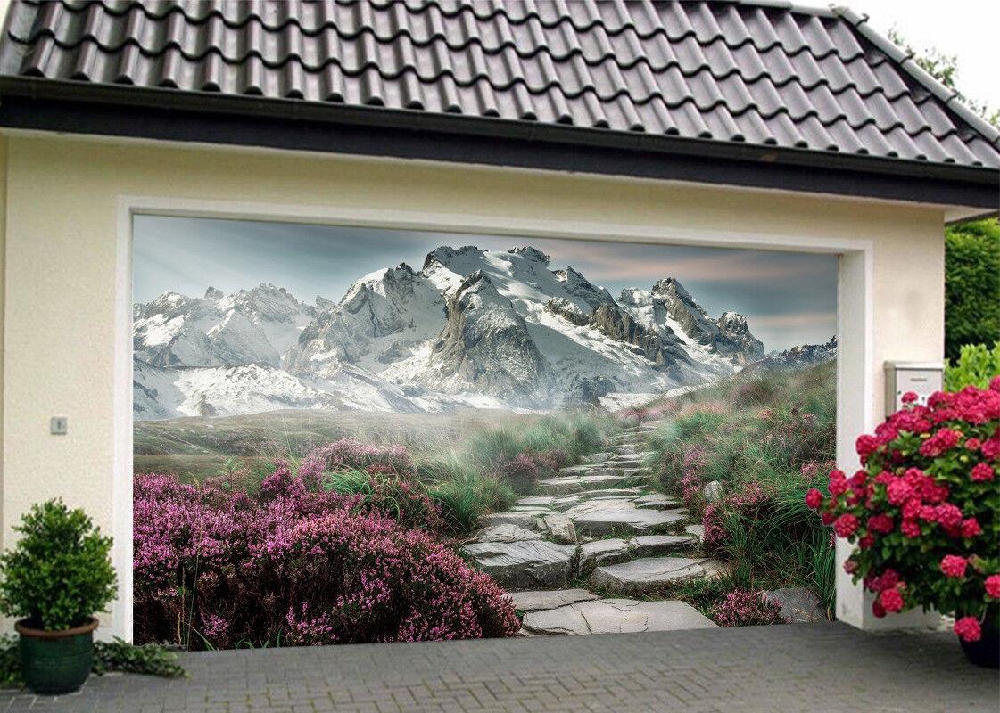 3D Flowers Mountain 56 Garage Door Murals Wall Print Wall AJ WALLPAPER UK Lemon