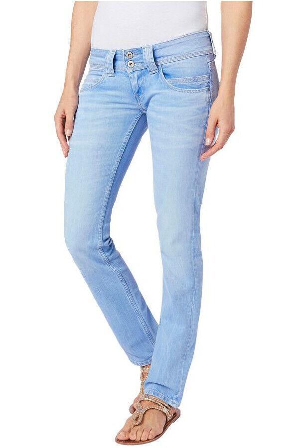 PEPE Jeans VENUS hellblau PA2 Straight Fit Low Waist Stretch Denim NEU