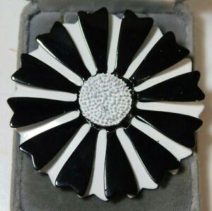 Vintage Huge Black White Enamel Flower Silver Tone Brooch Pin 9b 5