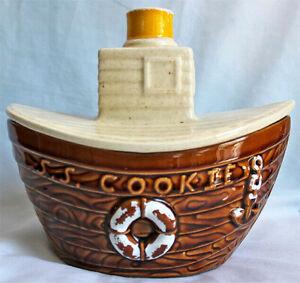 VINTAGE 1985 USA 345 McCoy Pottery  TUG BOAT   SS COOKIE  Ceramic Jar
