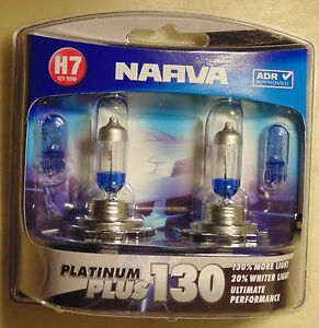Narva-Platinum-Plus130-Halogen-Light-Globe-PAIR-H7-type-for-VW-Audi-Skoda-Ford