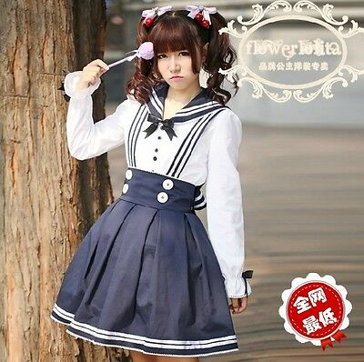 J515A  LOLITA COSPLAY GOTHIC LACE Tiered SCHOOL GIRL UNIFORM Long sleeves