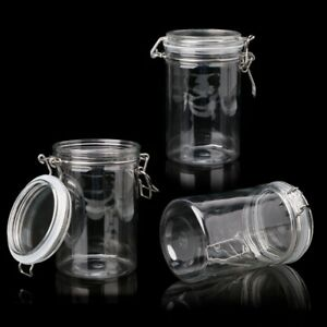 glass food storage jar with air tight sealed metal clamp lid tall kitchen cruet ebay. Black Bedroom Furniture Sets. Home Design Ideas