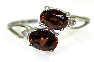 Cinnamon Zircon & Diamond 9ct White Gold Ring size S ~ 9 1/4
