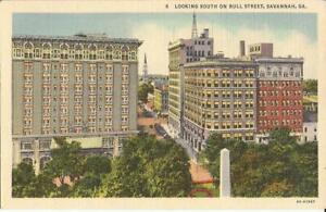 Savannah-GEORGIA-Bull-Street-Birdseye-1936-LINEN-steeple