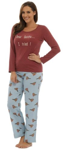 Ladies /'Dear Santa/' Christmas Xmas Slogan Pyjama Set ~ UK 8-18