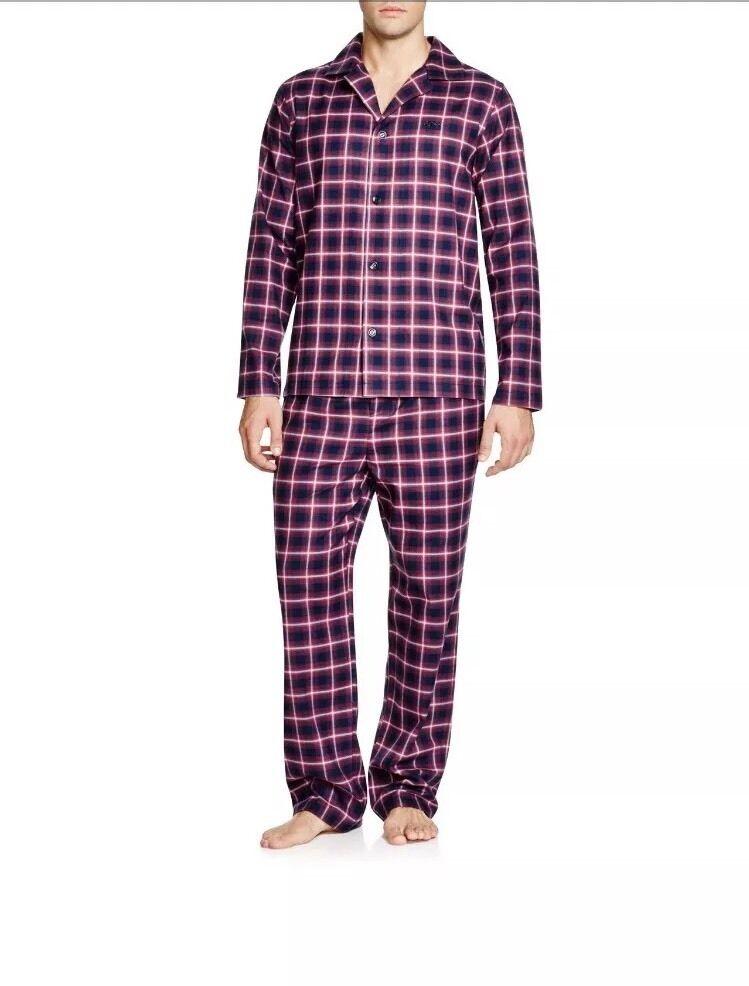 New HUGO BOSS Men Checked rot Pajama Set Lounge Gift Box S  259