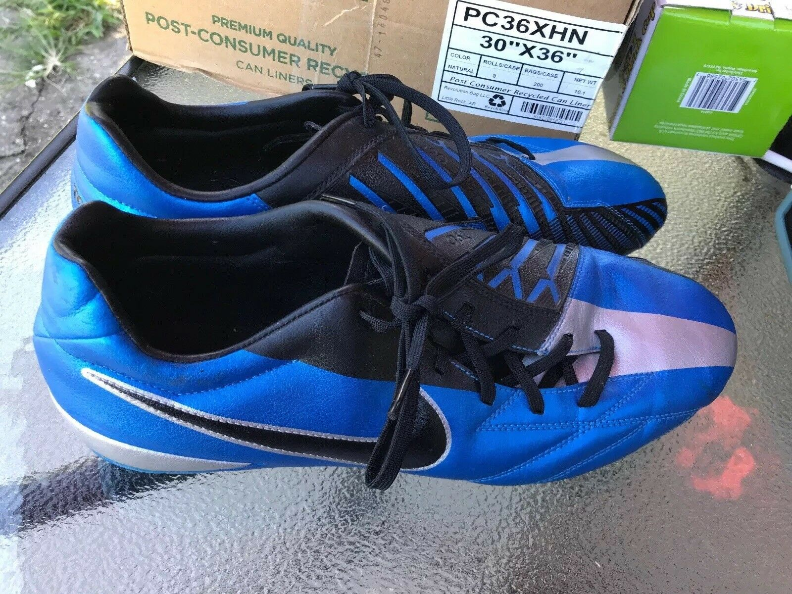 new concept 666ef d4229 NIKE T90 472547 Black Silver Blue Cleats Cleats Cleats Shoes Men s size 13  NIKE