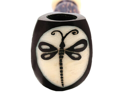 Dragonfly Animal Handmade Tobacco Smoking Natural Carved Tagua Nut Hand Pipe