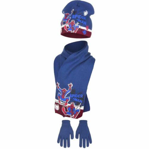 Boys Spiderman Hat Scarf /& Glove Set Children Winter Hat Set Age 3-8 Years