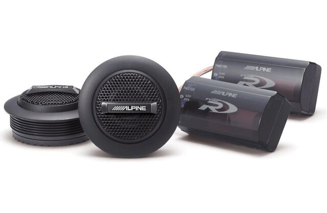 """ALPINE SPR-10TW 1"""" Type-R Silk Dome Tweeter Set with Crossover Filters 450W New"""