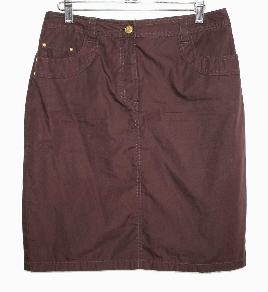 Jones New York - 6(S) - Leggera Solido Marronee 100% Cotton Mini Gonna a Tubino