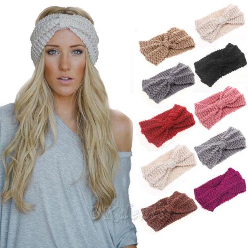 Winter Frauen Wärmer Stirnband Häkelarbeit breite Schleife Bogen Haarband KAKI