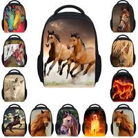Horse Print Girls Kids Cool Small Backpack School Bag Nursery Rucksack Lunch Bag