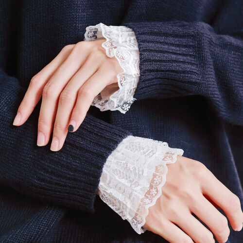 1 Pairs Lace Cuff Ruched False Sleeves Wrist Sweater Blouse Women Accessories N7