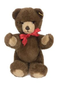 Steiff Teddy Bear Petsy Squeaker Jointed Brown Red Bow Tag 012556 Plush