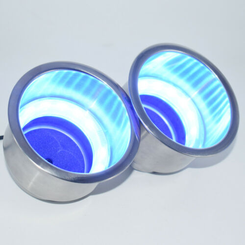 2PCS Stainless Steel Cup Drink Holder Blue LED Built-in Fit For Boat Car Truck
