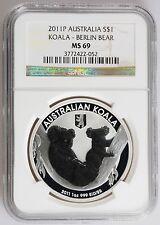 2011 P 1 oz Silver Dollar NGC MS69 Koala Berlin Bear Privy Proof Like Australian