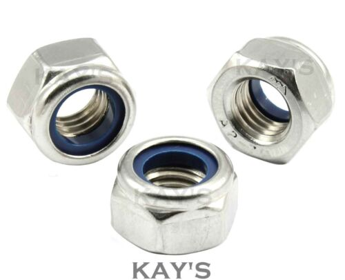 M10 10mm A2 Stainless Steel Nyloc Nuts Nylon Insert Nuts Pack of 10 Free P/&P