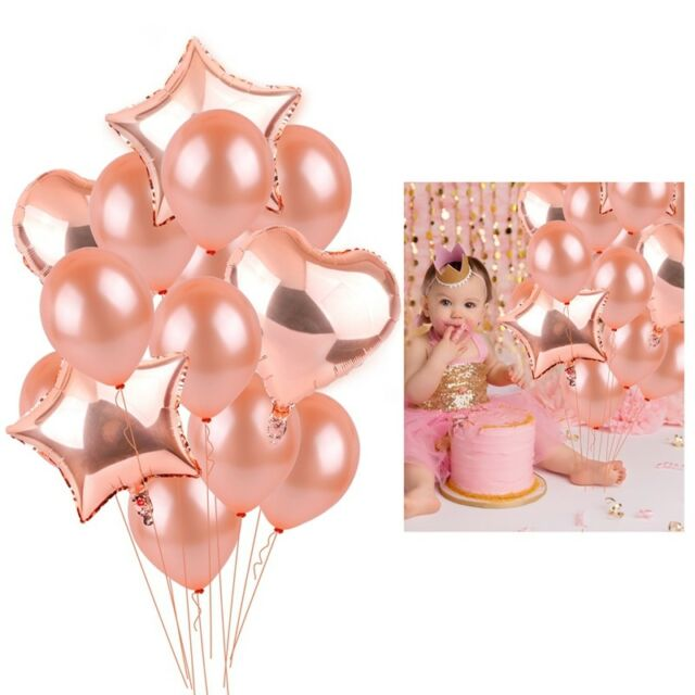Rose Gold Foil Latex Balloon Set Helium Heart Birthday Party Wedding Decor