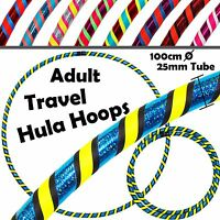 Pro Hula Hoops (ultragrip/glitter) 3colour Weighted Travel Hoola Hoop- 100cm/39