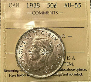 1938-CANADA-SILVER-FIFTY-CENTS-50-CENTS-COIN-ICCS-AU-55