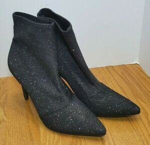 dfe2cb97541 Brash Spicy Etain NEW Womens 12 Black Glitter Ankle Booties Shoes ...