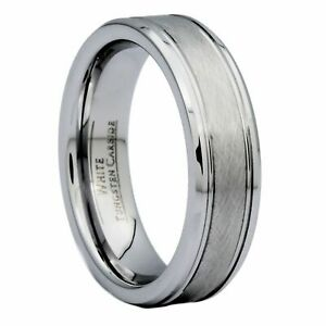 6mm Center Brushed White Tungsten Carbide Wedding Band