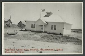 Farmersville-TX-c-1940s-RPPC-Real-Photo-Postcard-WELFORD-JUNIOR-HIGH-SCHOOL