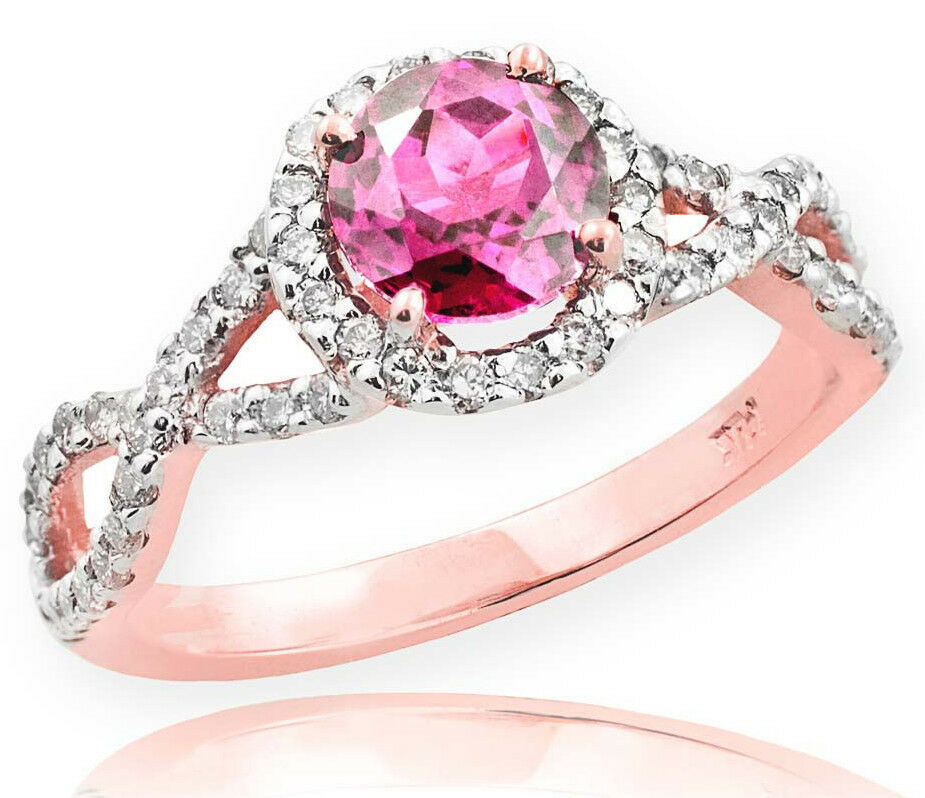 pink gold Pink Topaz Birthstone Infinity Ring with Diamonds Engagement Wedding