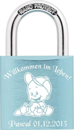 Babyschloss Liebesschloss ABUS mit Gravur Wunschtext und Motiv GL13