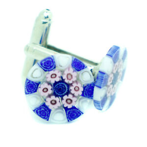 Gemelos-De-Cristal-De-Murano-Blanco-Rosa-Azul-con-patron-circular-con-Millefiori