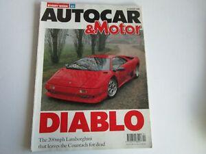 Autocar & Motor Magazine January 1990 Lamborghini Diablo
