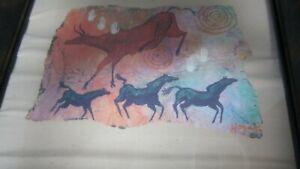 VINTAGE-SOUTH-WEST-ARTIST-Signed-GINNY-HOGAN-WALL-ART-FRAMED-MATTED-PRINT