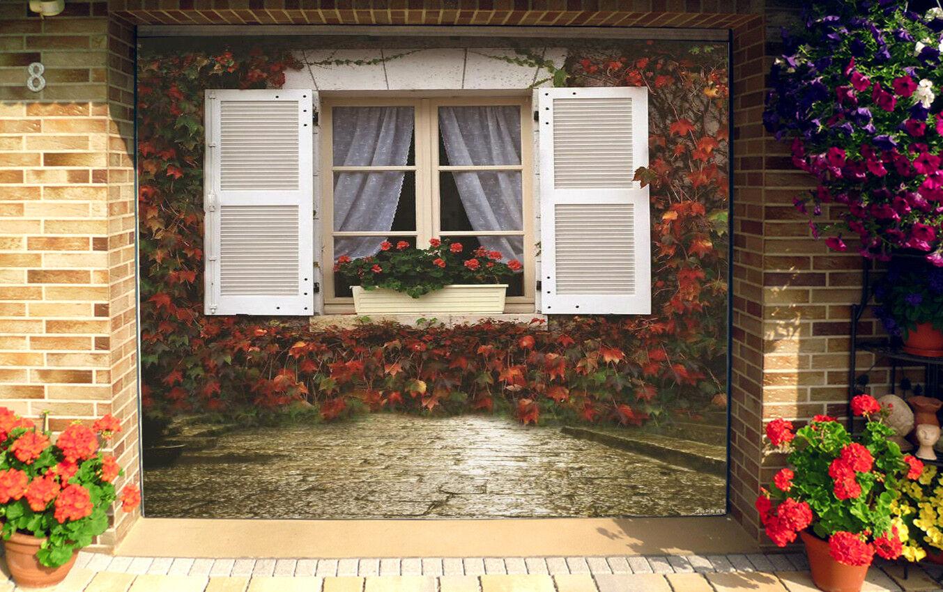 3D Maple Leaf Window 52 Garage Door Murals Wall Print Wall AJ WALLPAPER UK Lemon