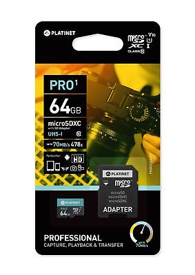 Platinet 64gb Micro Sd Card Sdxc Tf Memory Card Class 10 Uhs 1 + Sd Adapter